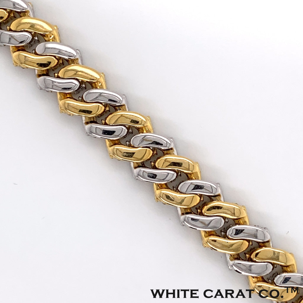7.70CT Diamond Raised Prong Cuban Bracelet in 14K White and Yellow Gold - 12mm - White Carat Diamonds