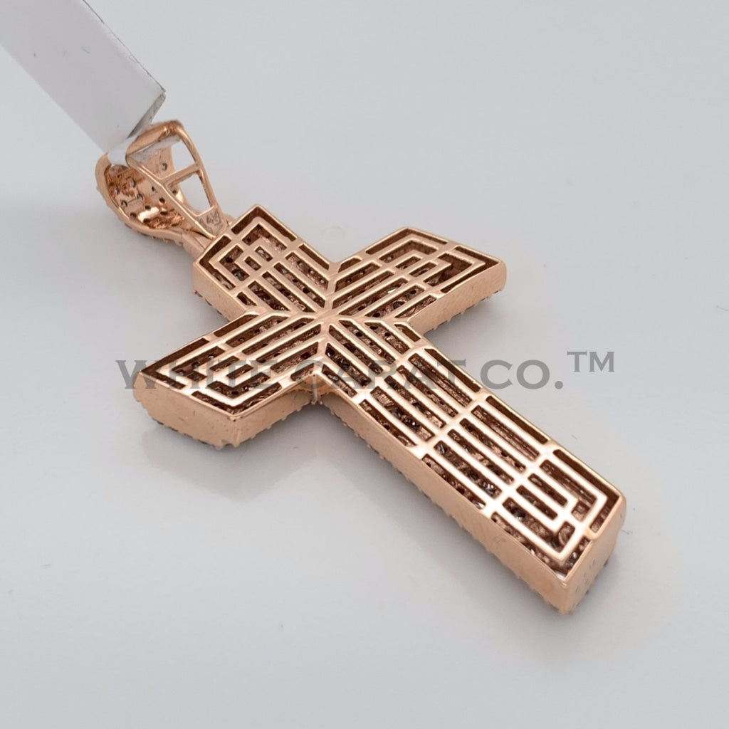 3.55CT Diamond Cross Pendant in 14K Rose Gold - White Carat Diamonds