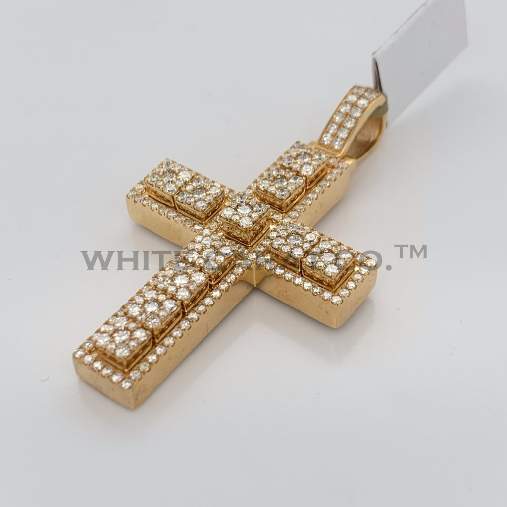 3.03CT Diamond Cross Pendant in 14K Gold - White Carat Diamonds