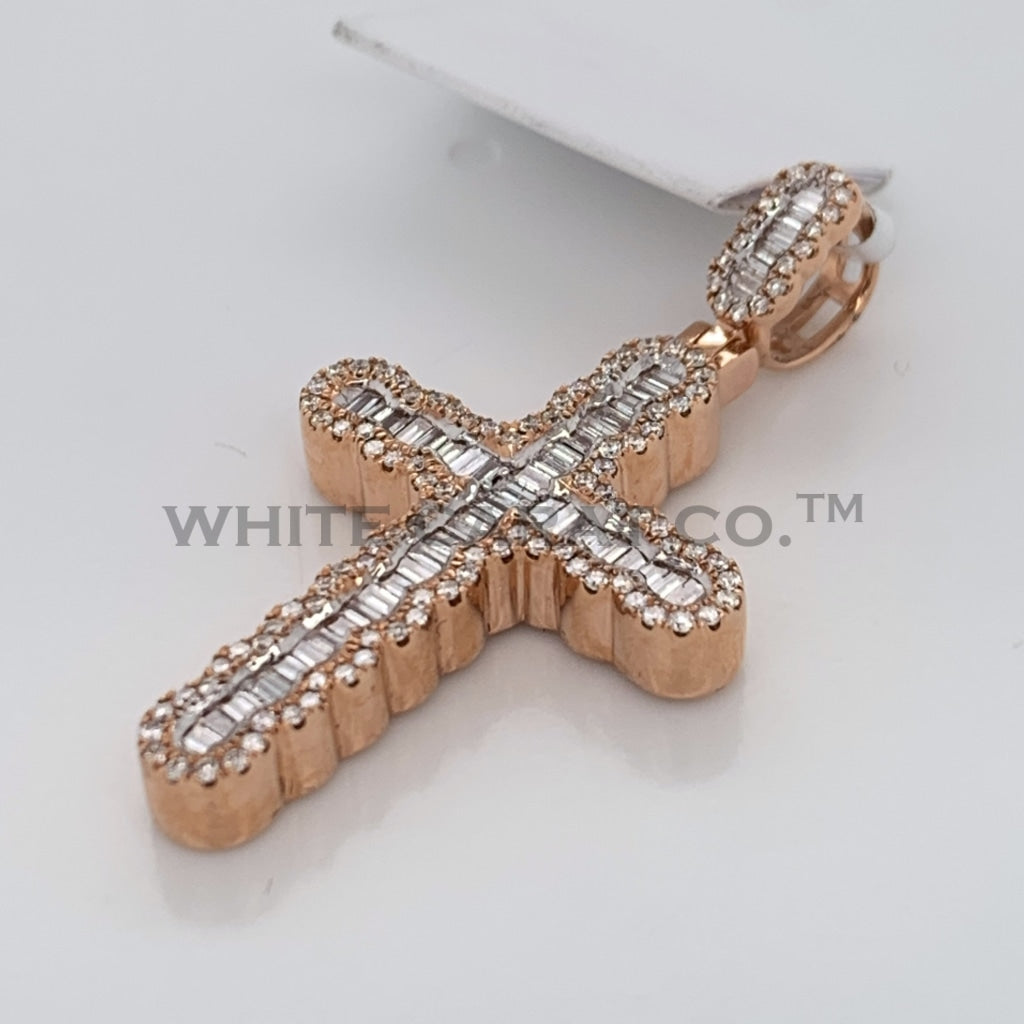 0.59CT Diamond Cross Pendant in 14K Rose Gold - White Carat Diamonds