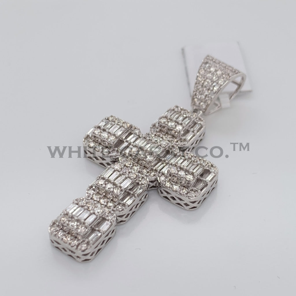 3.16CT Diamond Square Module Cross Pendant in 14K White Gold - White Carat Diamonds
