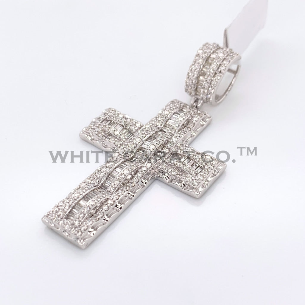 2.94CT Diamond Cross Pendant in 14K White Gold - White Carat Diamonds