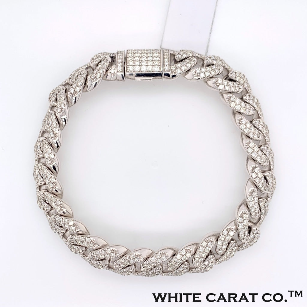 6.17CT Diamond Cuban Bracelet in 14K White Gold - White Carat Diamonds