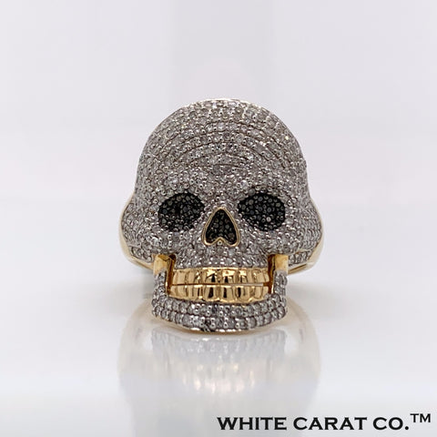 1.77CT Diamond Skull 10K Gold Ring - White Carat Diamonds