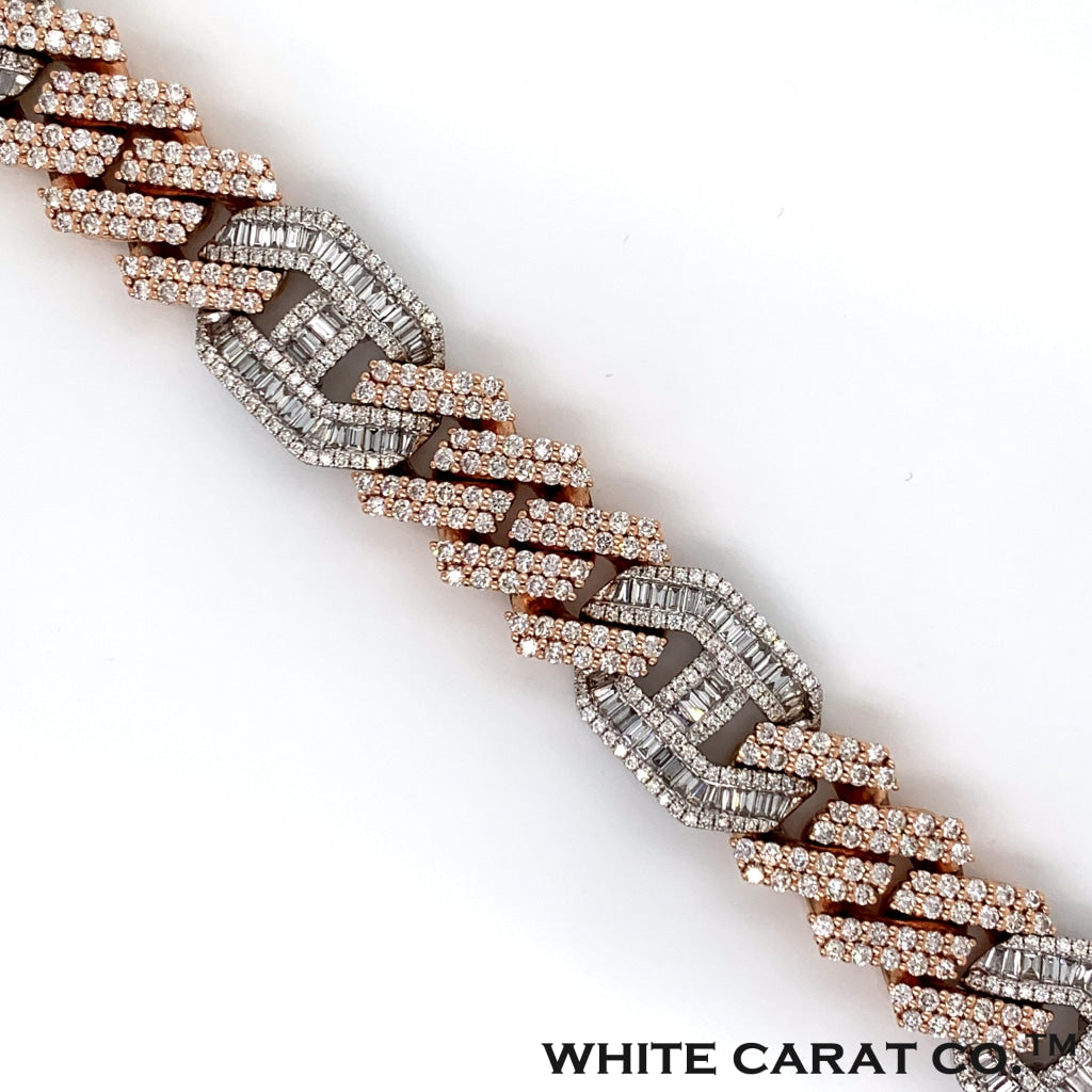 12.77CT Diamond Cuban Mariner Bracelet in 14K Rose and White Gold - 16mm - White Carat Diamonds