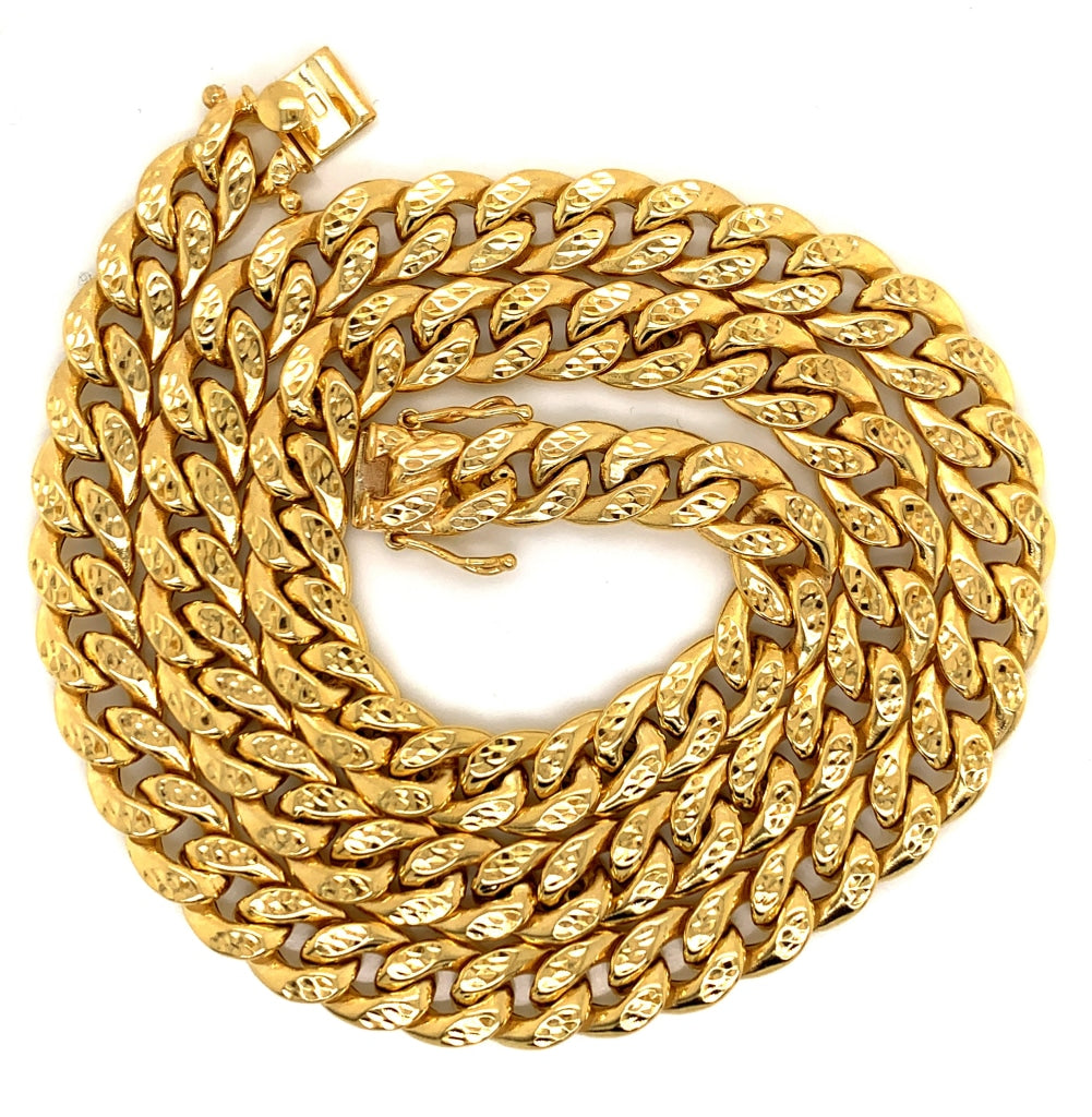 10K Gold Semi-Solid Cuban Chain w/ Gold Cuts - 10.5MM - White Carat Diamonds
