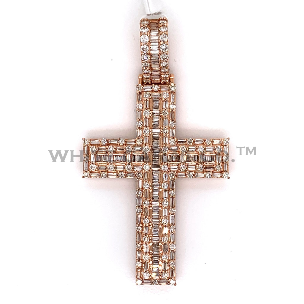 3.19CT Diamond Cross Pendant in 14K Rose Gold - White Carat Diamonds