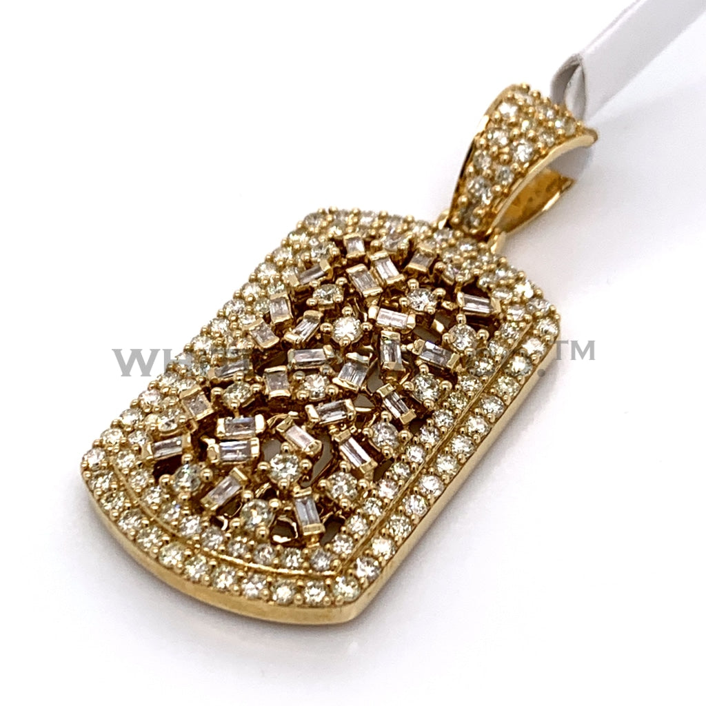 3.00CT Diamond Dog Tag Pendant in 10K Gold - White Carat Diamonds