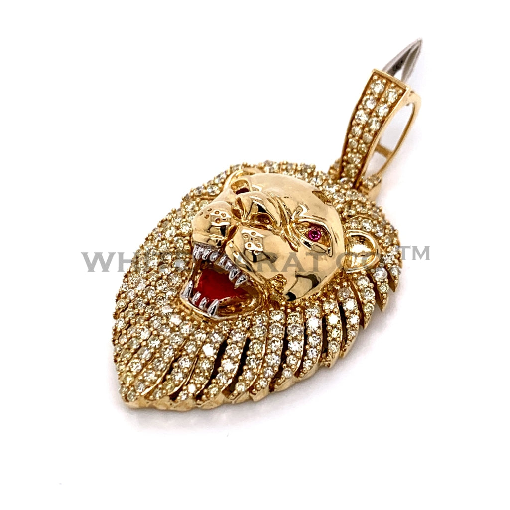 2.00CT Diamond Lion Pendant in 10K Gold - White Carat Diamonds