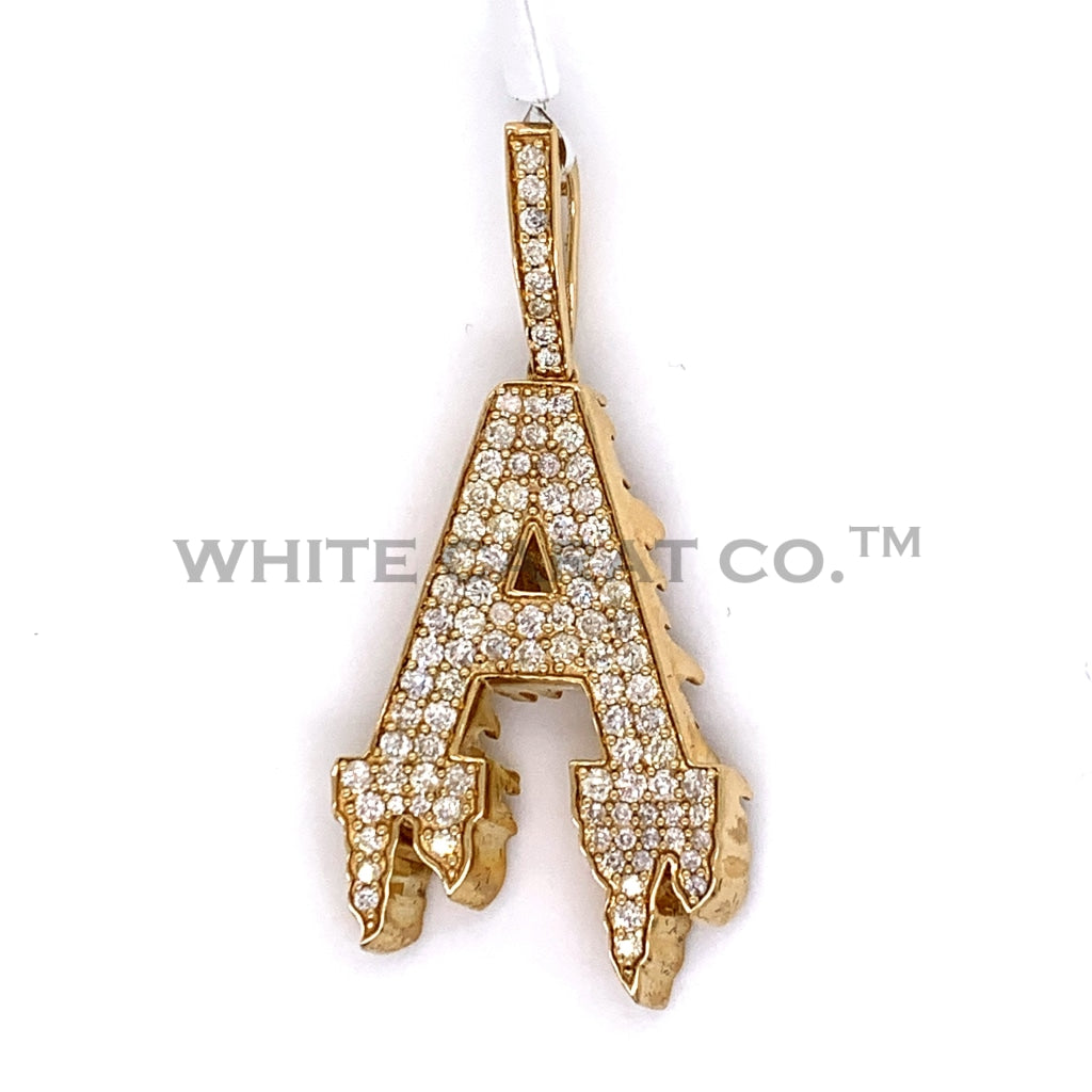 "1.75CT Diamond Initial ""A"" Pendant in 10K Gold - White Carat Diamonds"