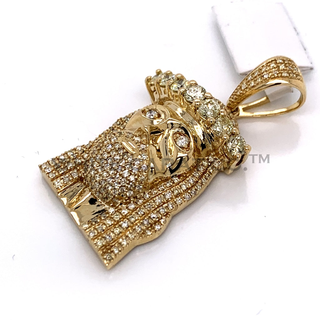 3.00CT Diamond Jesus Pendant in 10K Gold - White Carat Diamonds