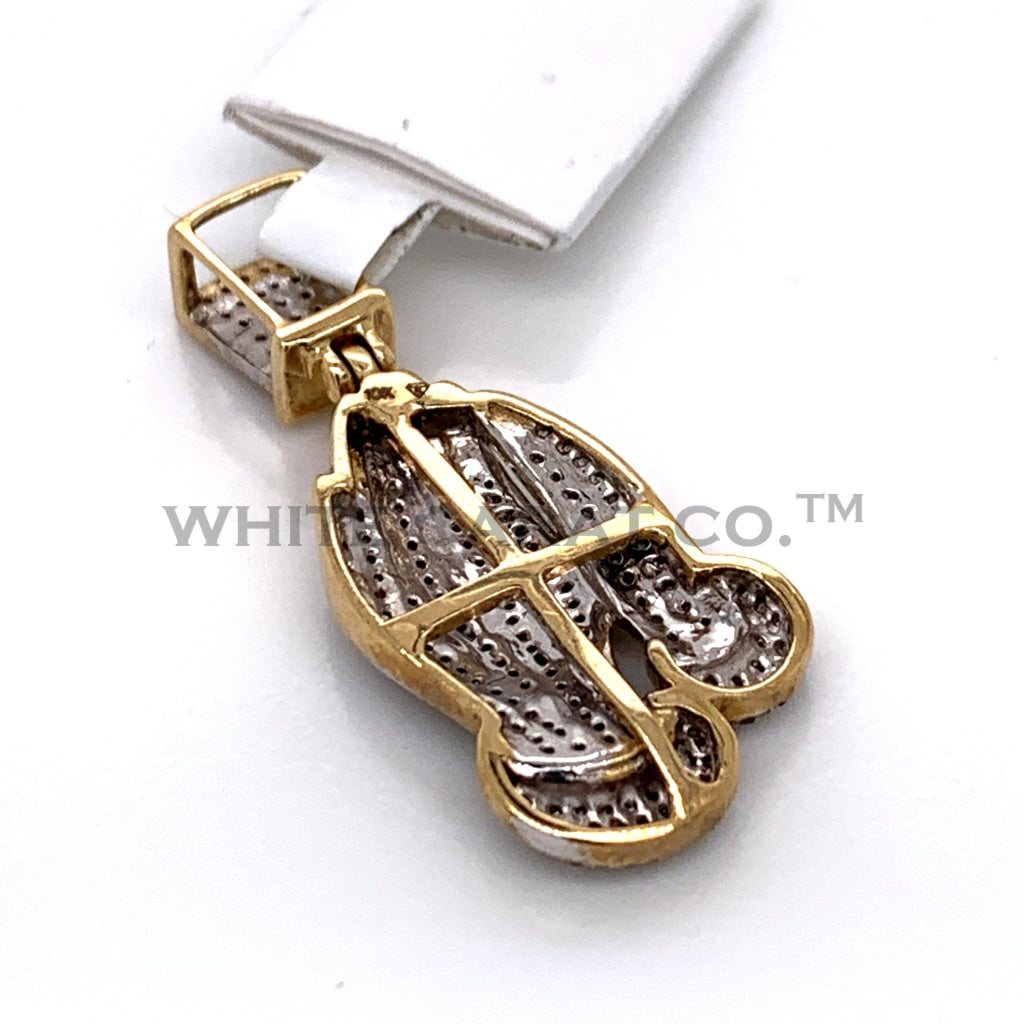 0.50CT Diamond Prayer Hands Pendant in 10K Gold - White Carat Diamonds