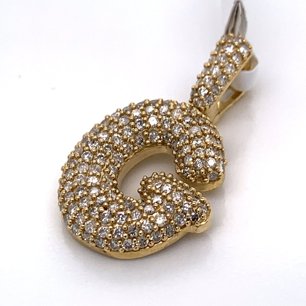 "1.50CT Diamond Initial ""G"" Pendant in 10K Gold - White Carat Diamonds"
