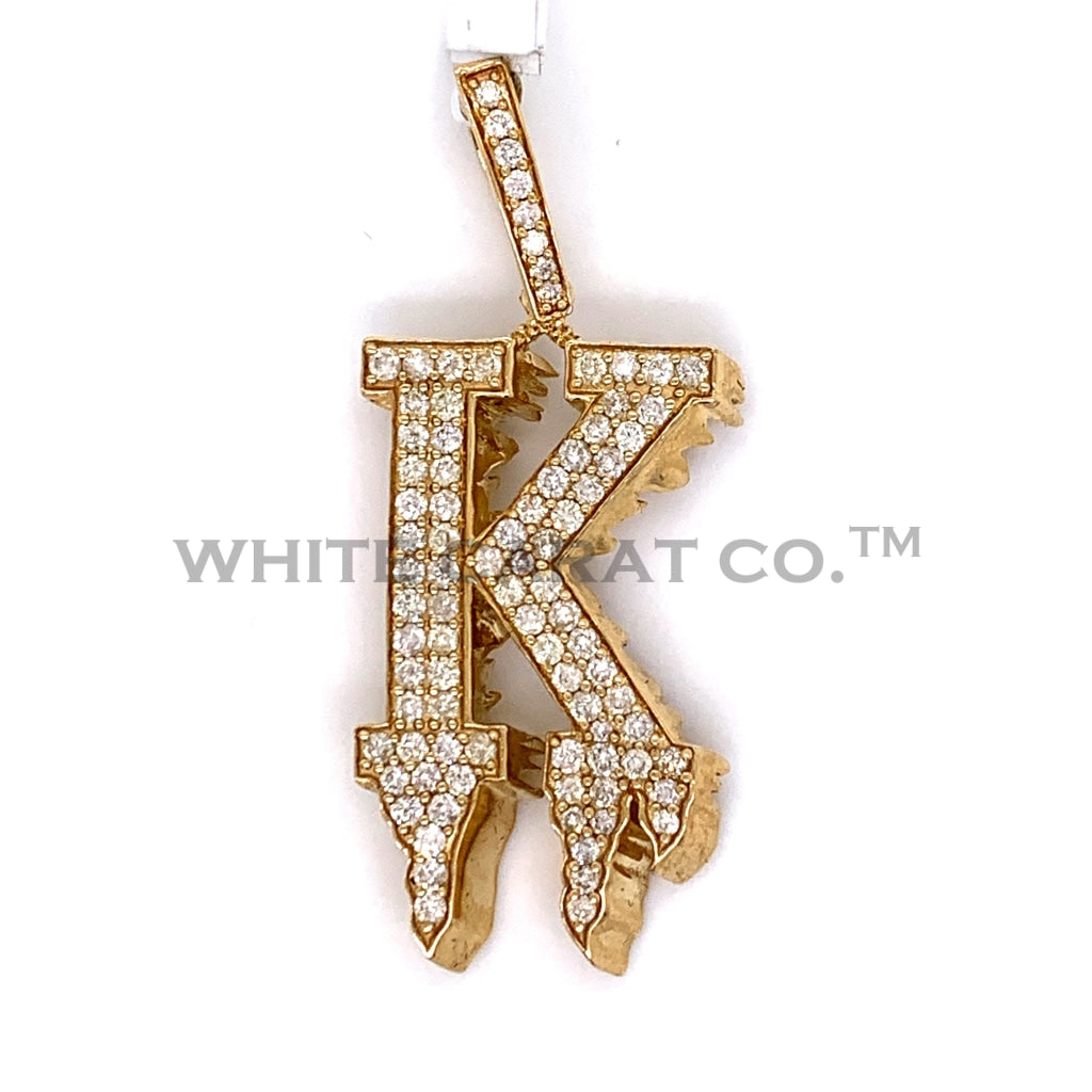 "1.75CT Diamond Point ""K"" Initial Pendant in 10K Gold - White Carat Diamonds"