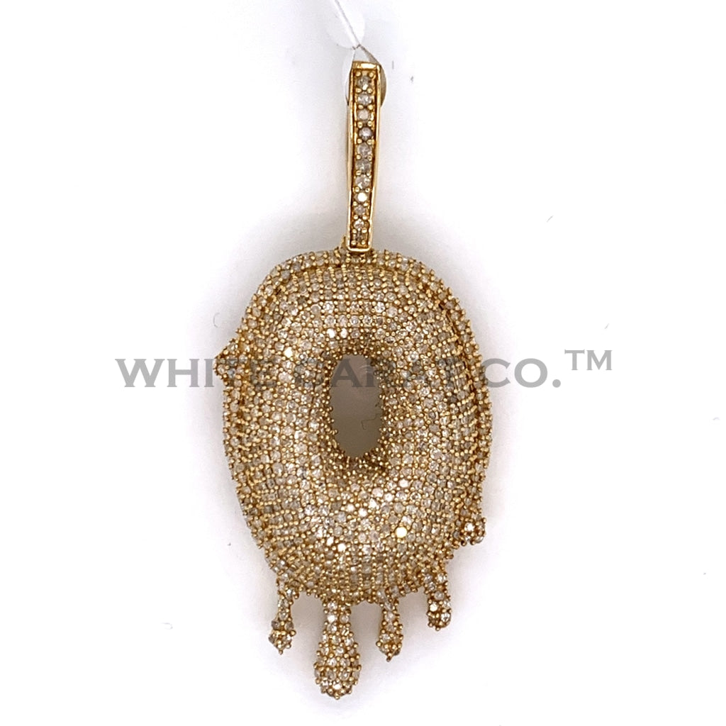 "2.25CT Diamond Drip ""O"" Initial Pendant in 10K Gold - White Carat Diamonds"