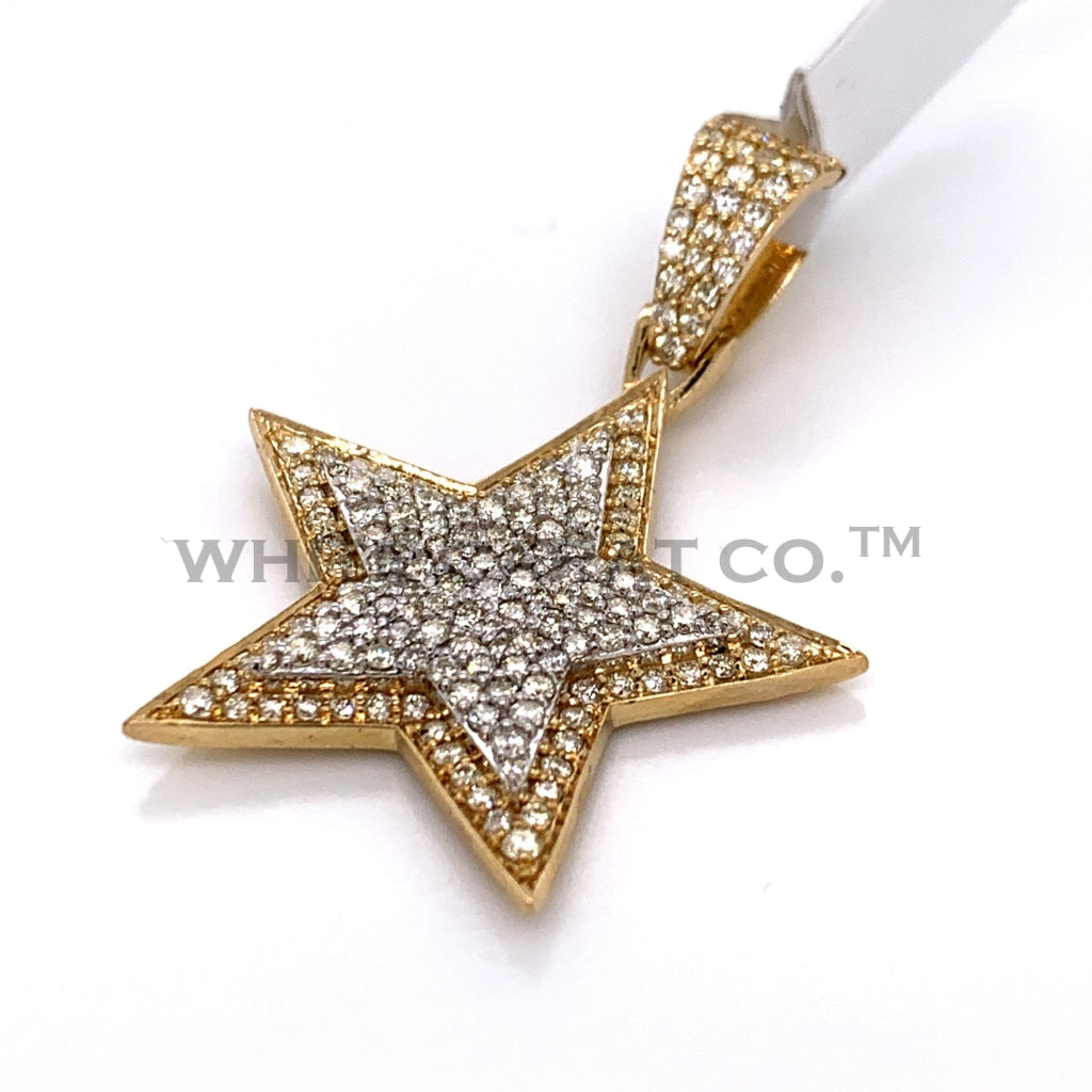 2.10CT Diamond Star Pendant in 14K Gold - White Carat Diamonds