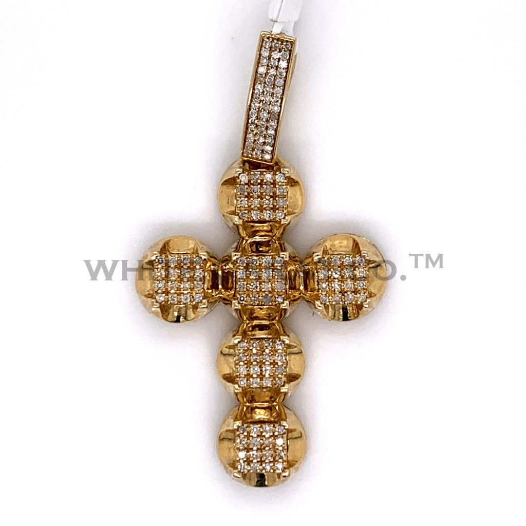 0.75CT Diamond Cross Pendant in 10K Gold - White Carat Diamonds