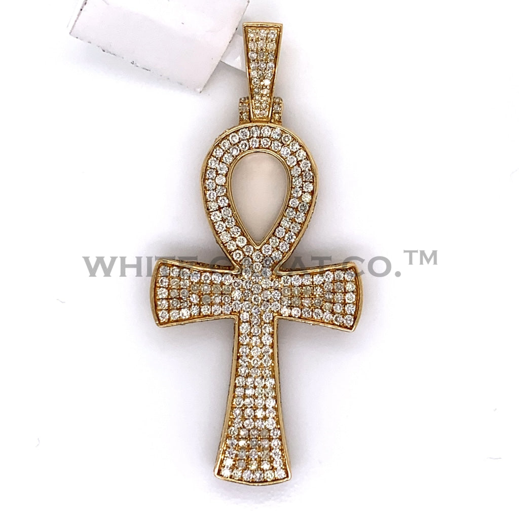 4.50CT Diamond Ankh Cross Pendant in 10K Gold - White Carat Diamonds