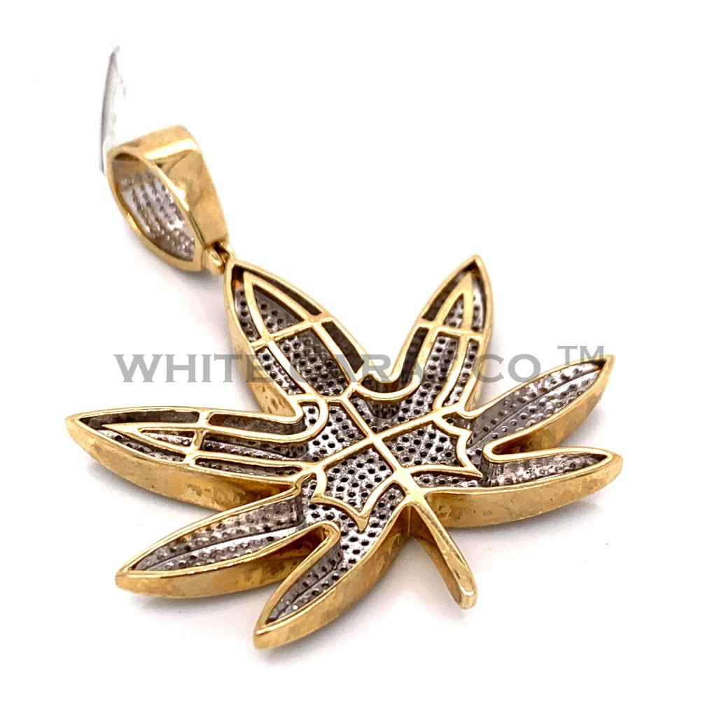 1.50CT Diamond Marijuana Leaf Pendant in 10K Gold - White Carat Diamonds