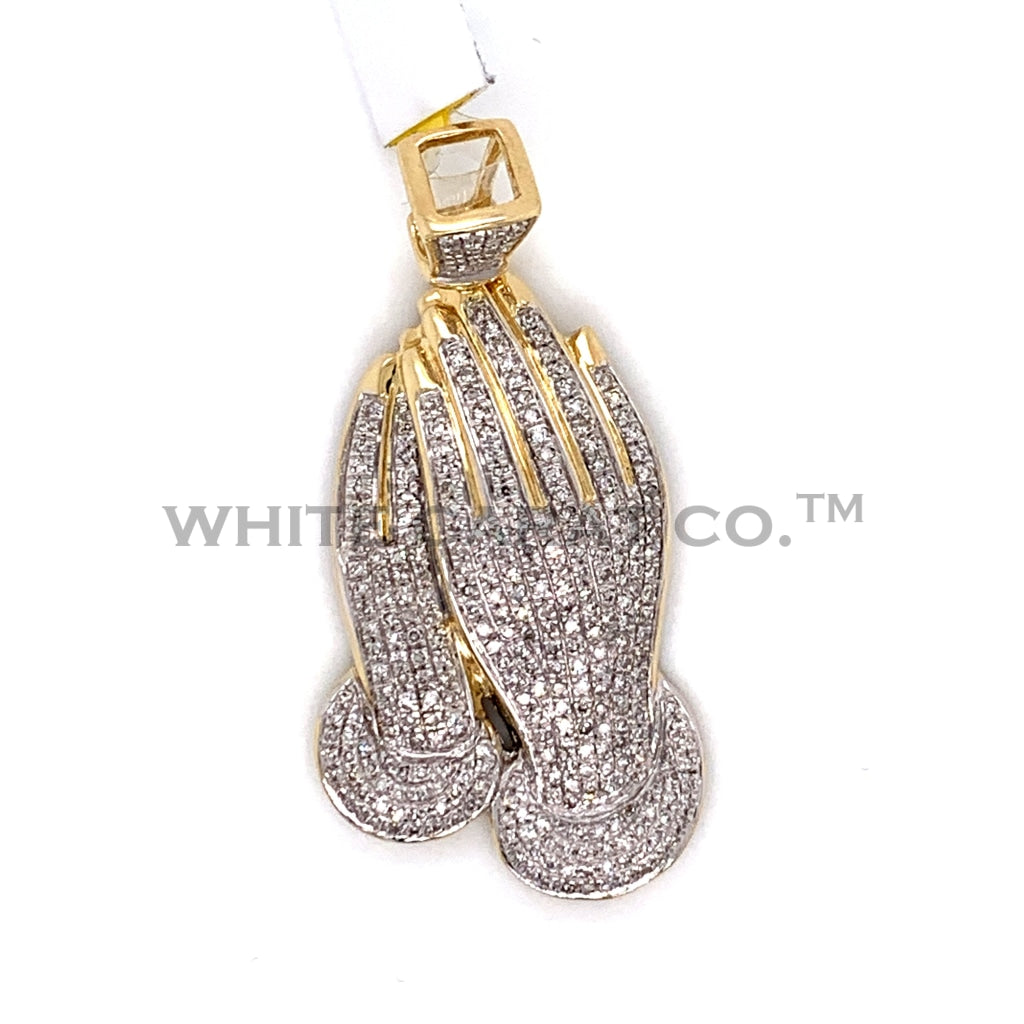 0.97CT Diamond Prayer Hands Pendant in 10K Gold - White Carat Diamonds