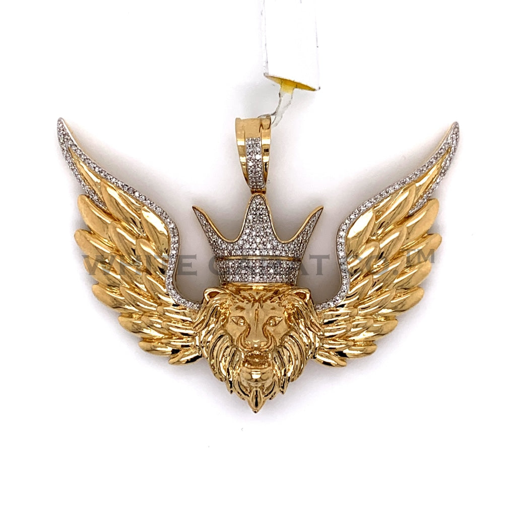 0.55CT Diamond Winged Crowned Lion Pendant in 10K Gold - White Carat Diamonds