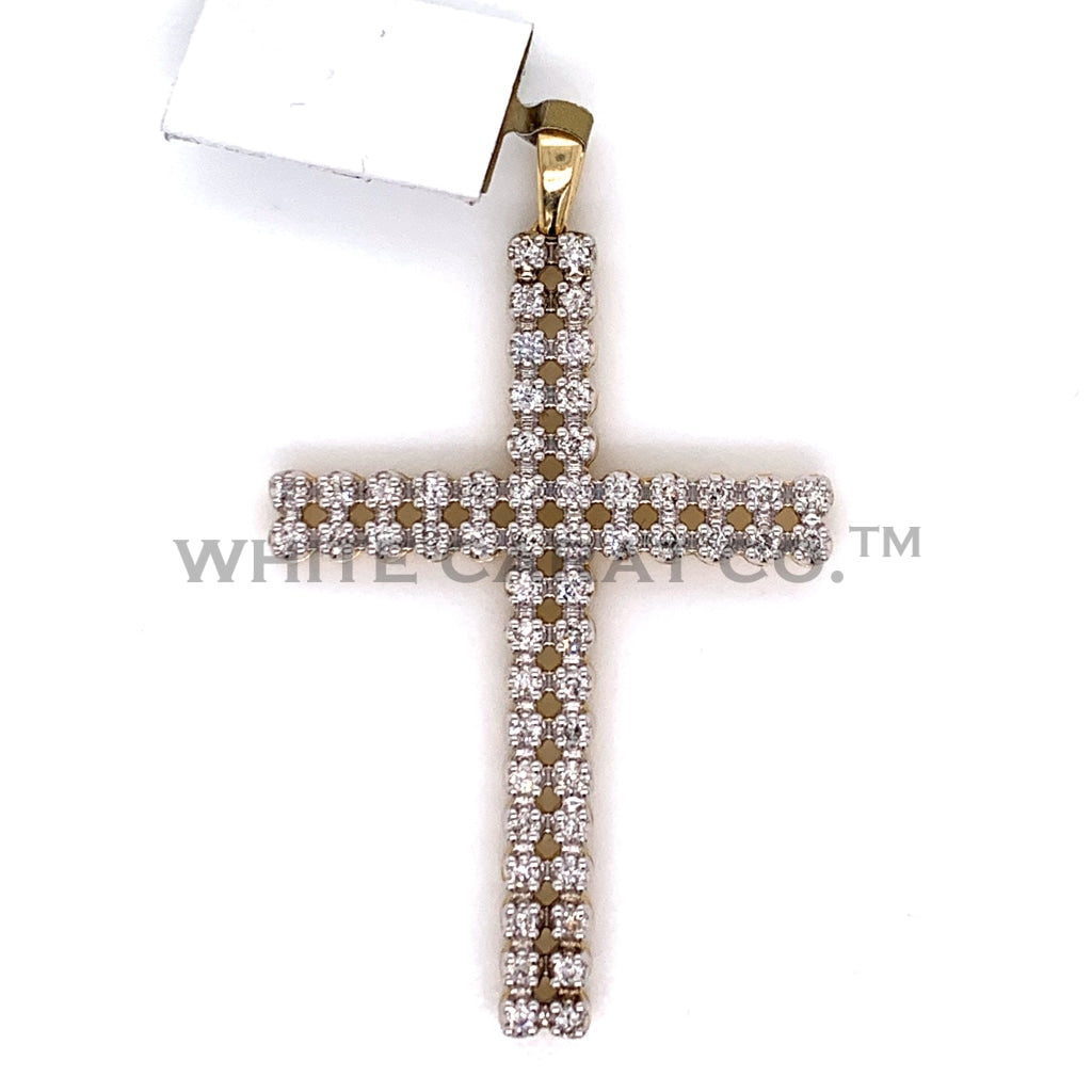 1.02CT Diamond Cross Pendant in 10K Gold - White Carat Diamonds