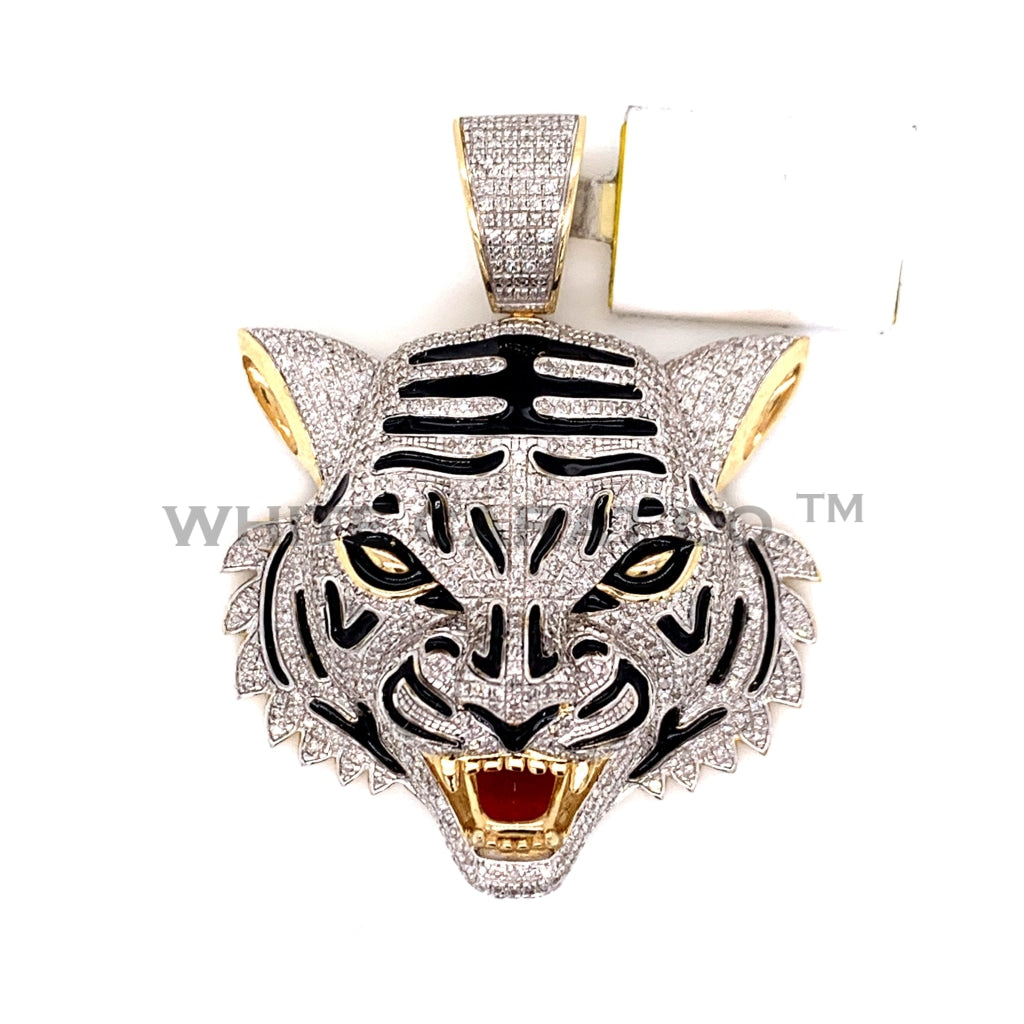 2.23CT Diamond Tiger Pendant in 10K Gold - White Carat Diamonds