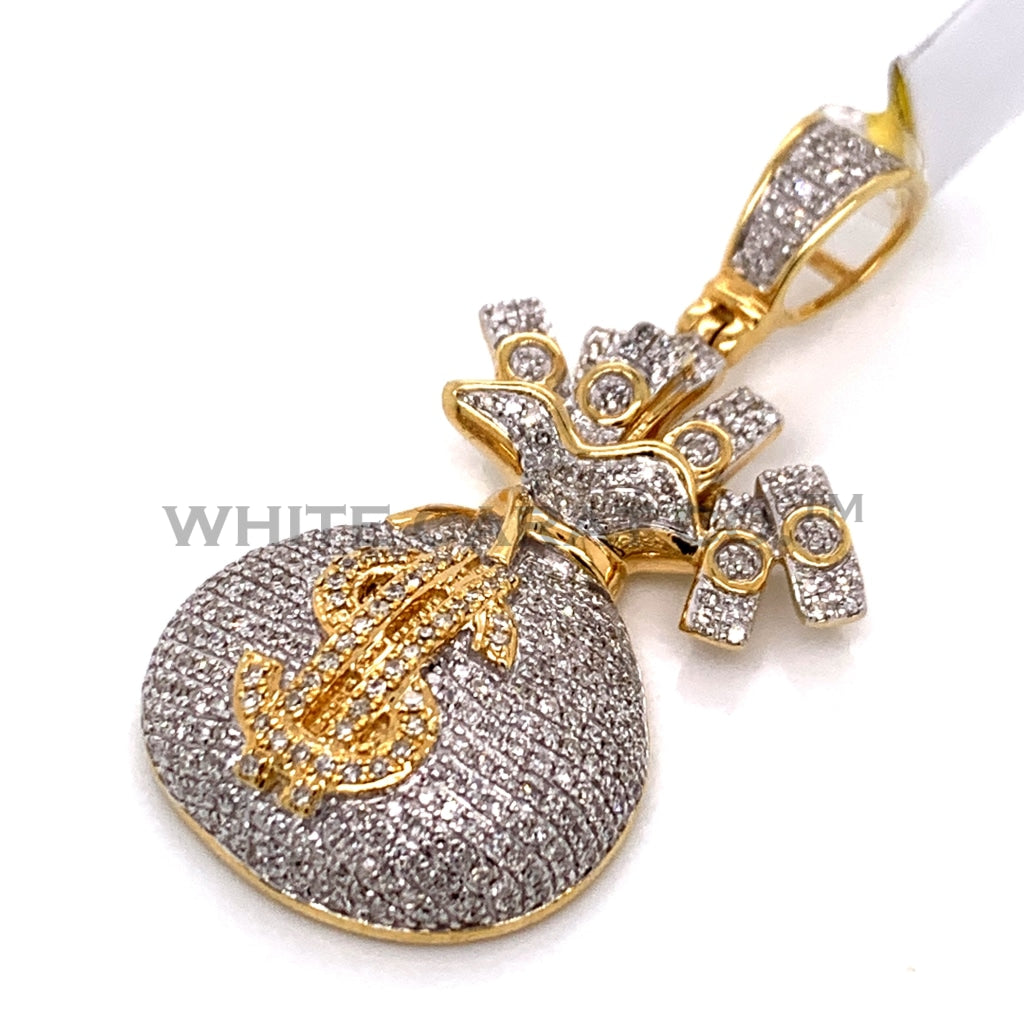 0.99CT Diamond Money Bag Pendant in 10K Gold - White Carat Diamonds