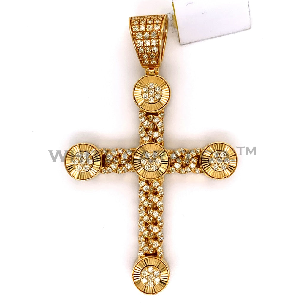 2.18CT Diamond Cross Pendant in 10K Gold - White Carat Diamonds