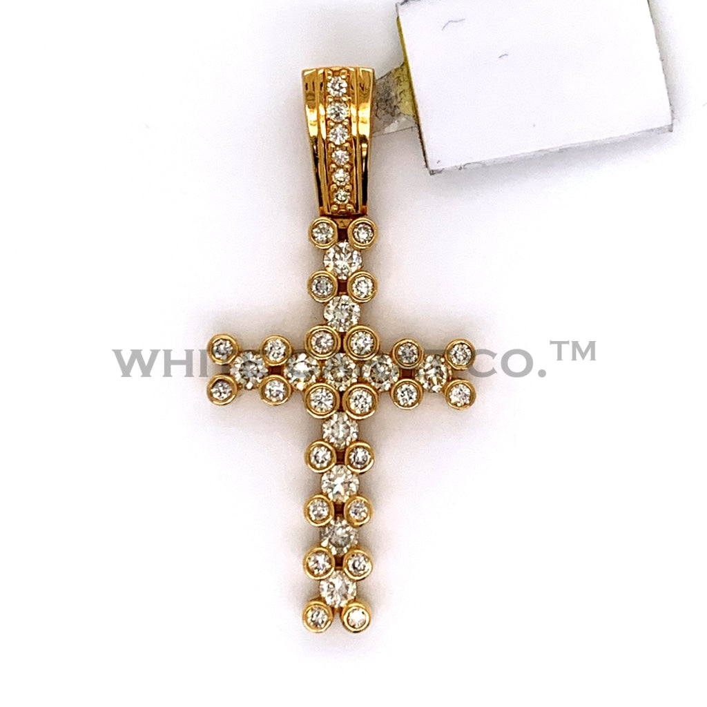 1.55 CT Diamond Cross Pendant in 10K Gold - White Carat Diamonds