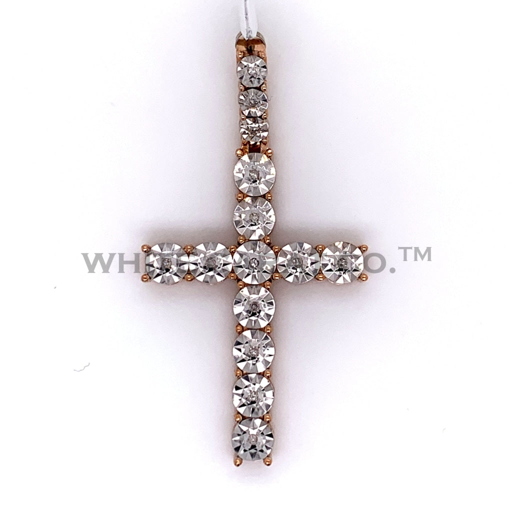 0.07CT Diamond Cross Pendant in 10K Rose Gold - White Carat Diamonds