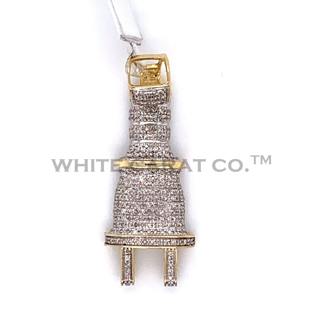 0.49CT Diamond Plug Pendant in 10K Gold - White Carat Diamonds