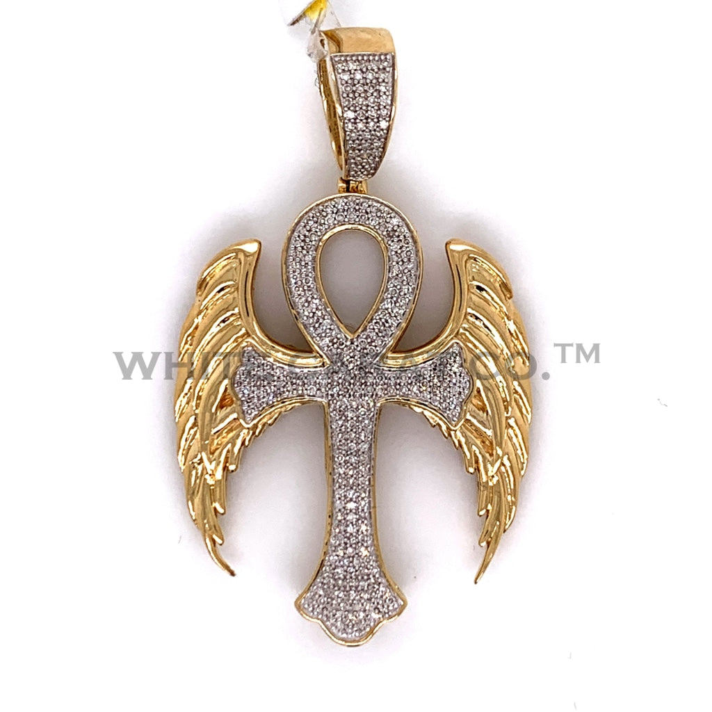0.60CT Diamond Angel Cross Pendant in 10K Gold - White Carat Diamonds