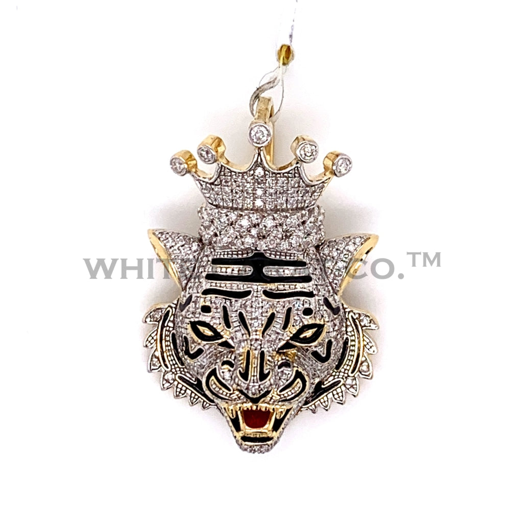 0.68CT Diamond King Tiger Pendant in 10K Gold - White Carat Diamonds
