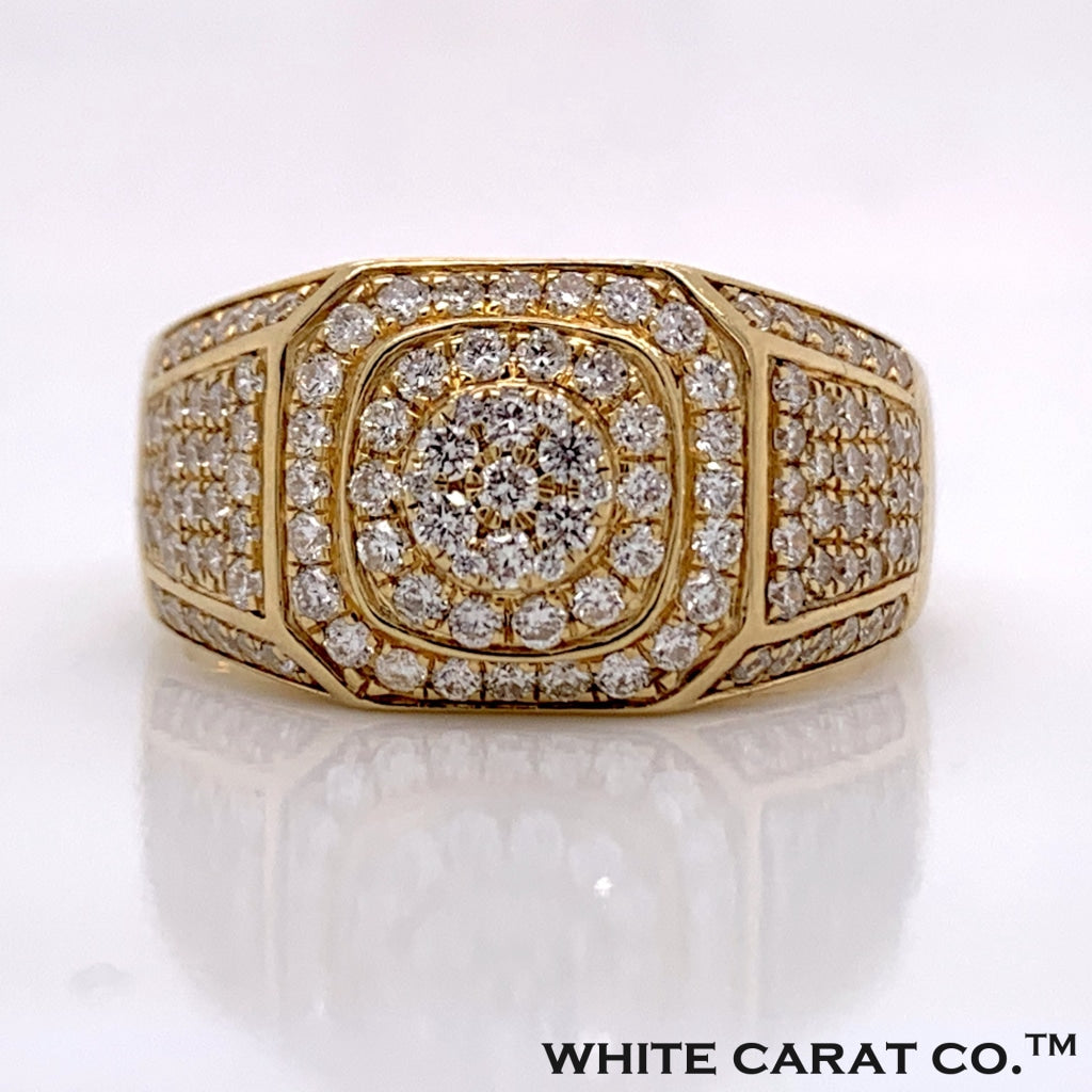 1.35CT Diamond Hex-Layered Ring in 10K Gold Ring - White Carat Diamonds