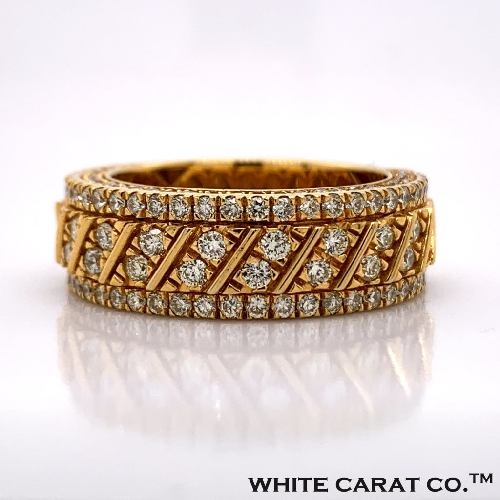 2.25 CT. Diamond Striped Band in 10K Gold - White Carat Diamonds