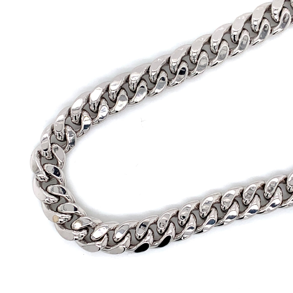 10K White Gold Solid Miami Cuban Chain - 8.5mm - White Carat Diamonds