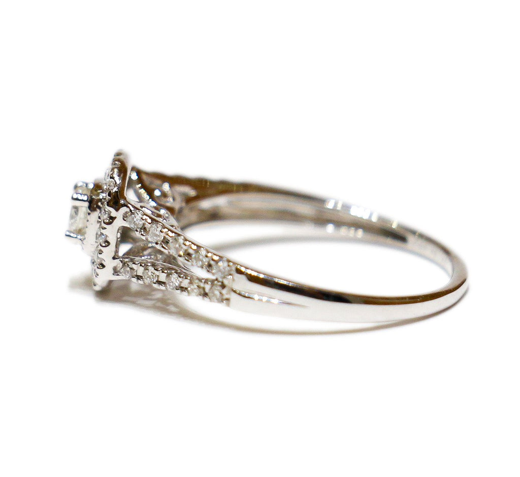 0.62 CT. Classic Diamond Engagement 2 Ring Set in 14K White Gold - White Carat - USA & Canada