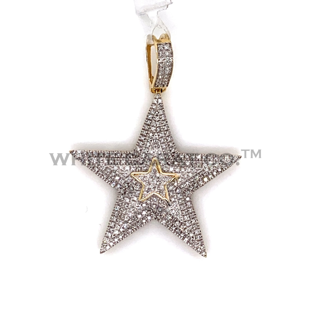 0.62CT Diamond Star Pendant in 10KT Gold - White Carat Diamonds