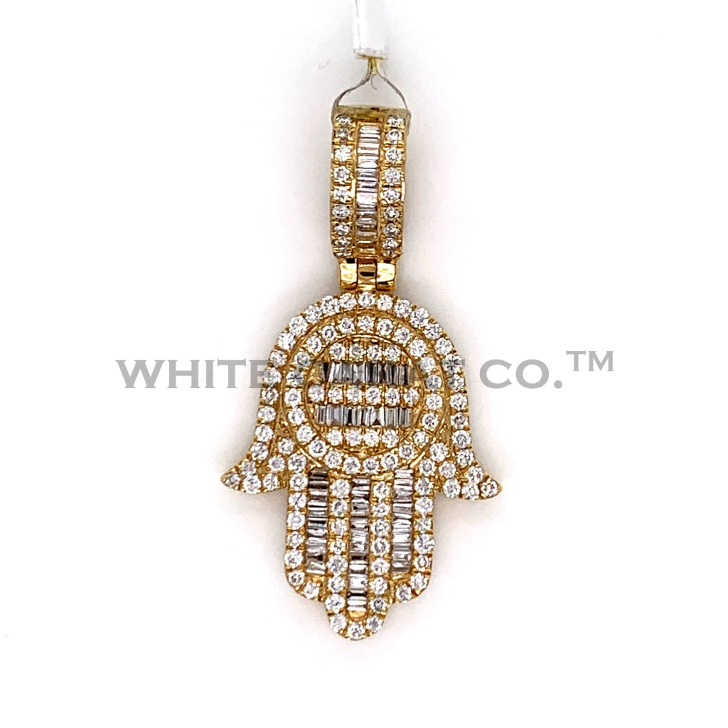 1.56CT Diamond Hamsa Hand Pendant in 10KT Gold - White Carat Diamonds
