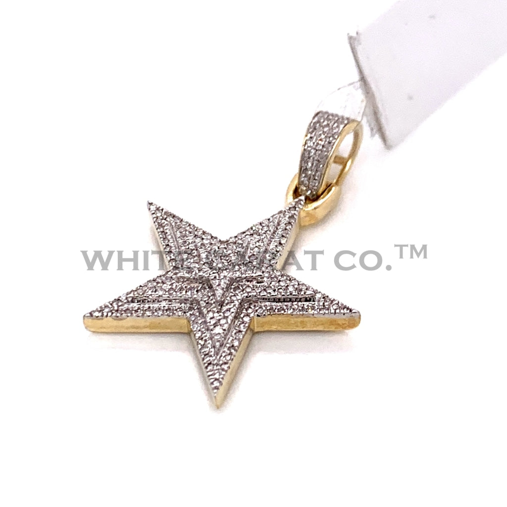 0.19CT Diamond Star Pendant in 10KT Gold - White Carat Diamonds
