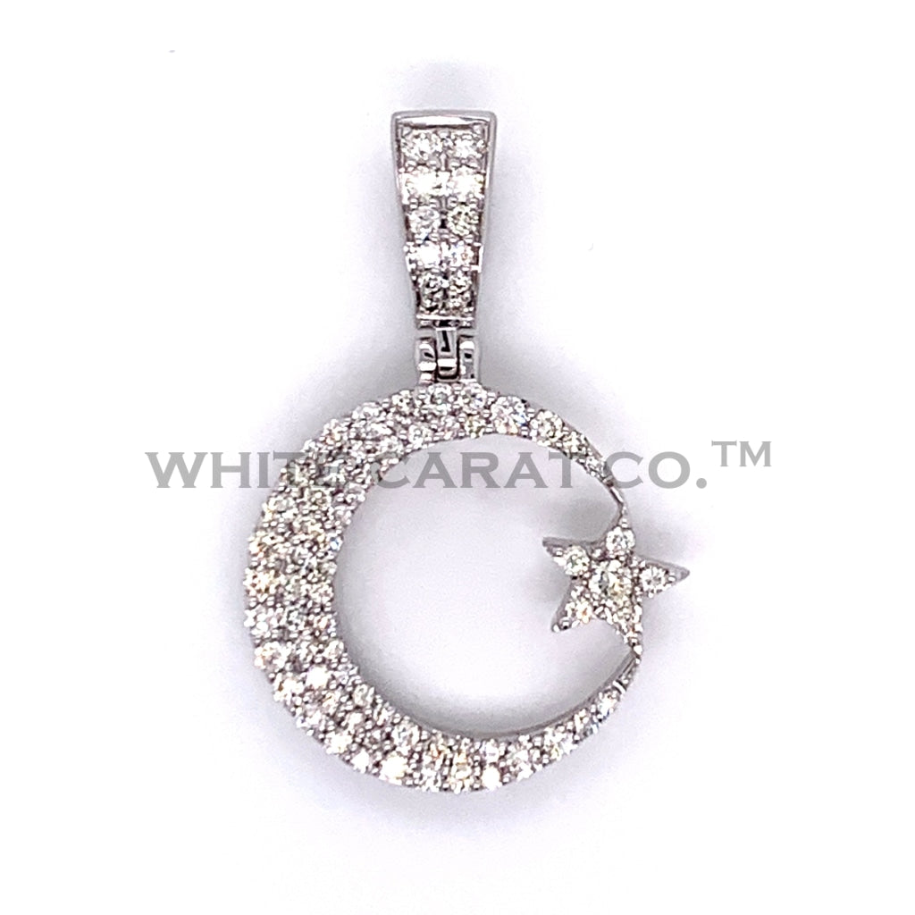 0.75 CT. Diamond Crescent and Star Pendant in 10K White Gold - White Carat Diamonds