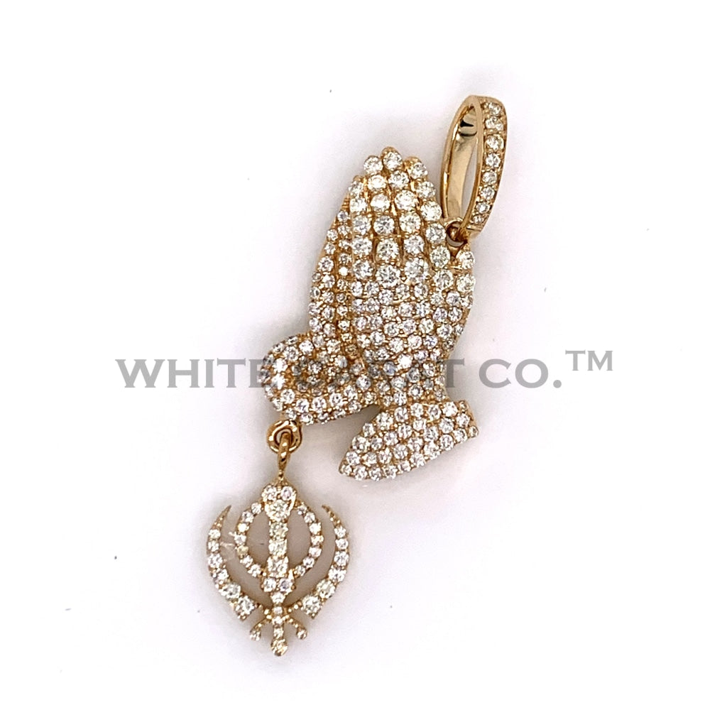 2.25 CT. Diamond Khanda Prayer Hands Pendant in 10K Gold - White Carat Diamonds