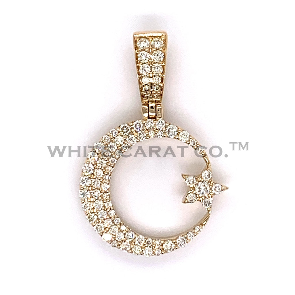 0.75 CT. Diamond Crescent and Star Pendant in 10K Gold - White Carat Diamonds