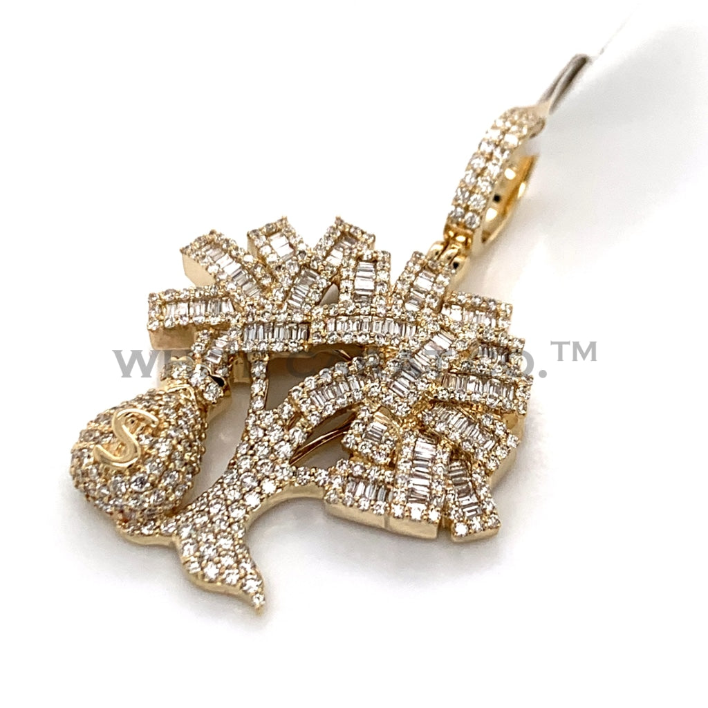 3.50 CT. Diamond Money Tree W/ Money Bag Pendant in 10K Gold - White Carat Diamonds