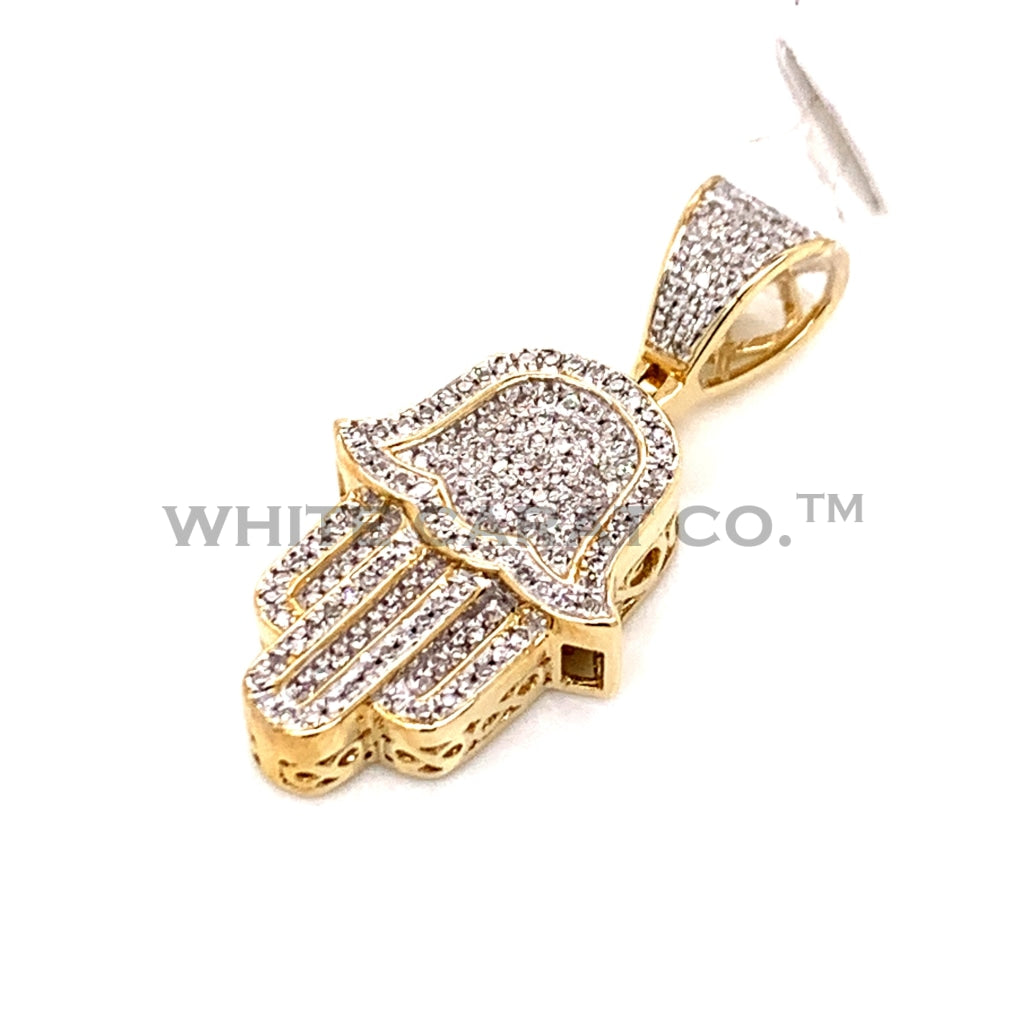0.27 CT. Diamond Hamsa Hand Pendant in 10KT Gold - White Carat Diamonds