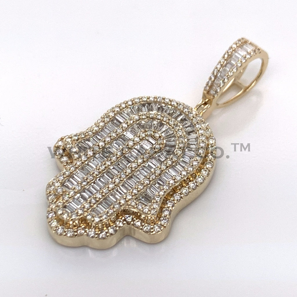 3.00 CT. Diamond Hamsa Hand Pendant in 10K Gold - White Carat Diamonds