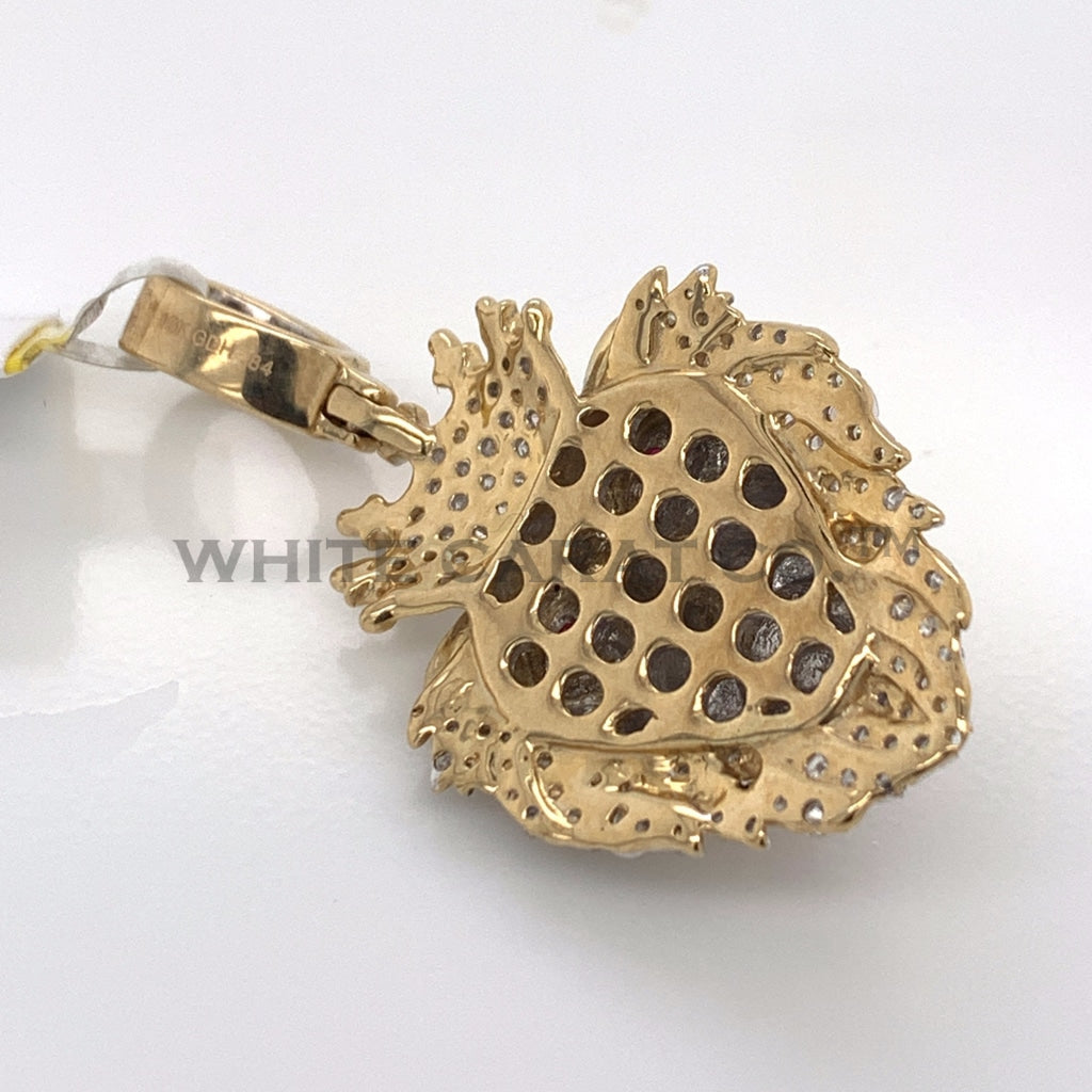 0.83 CT. Diamond Crowned Lion Pendant in 10K Gold - White Carat Diamonds
