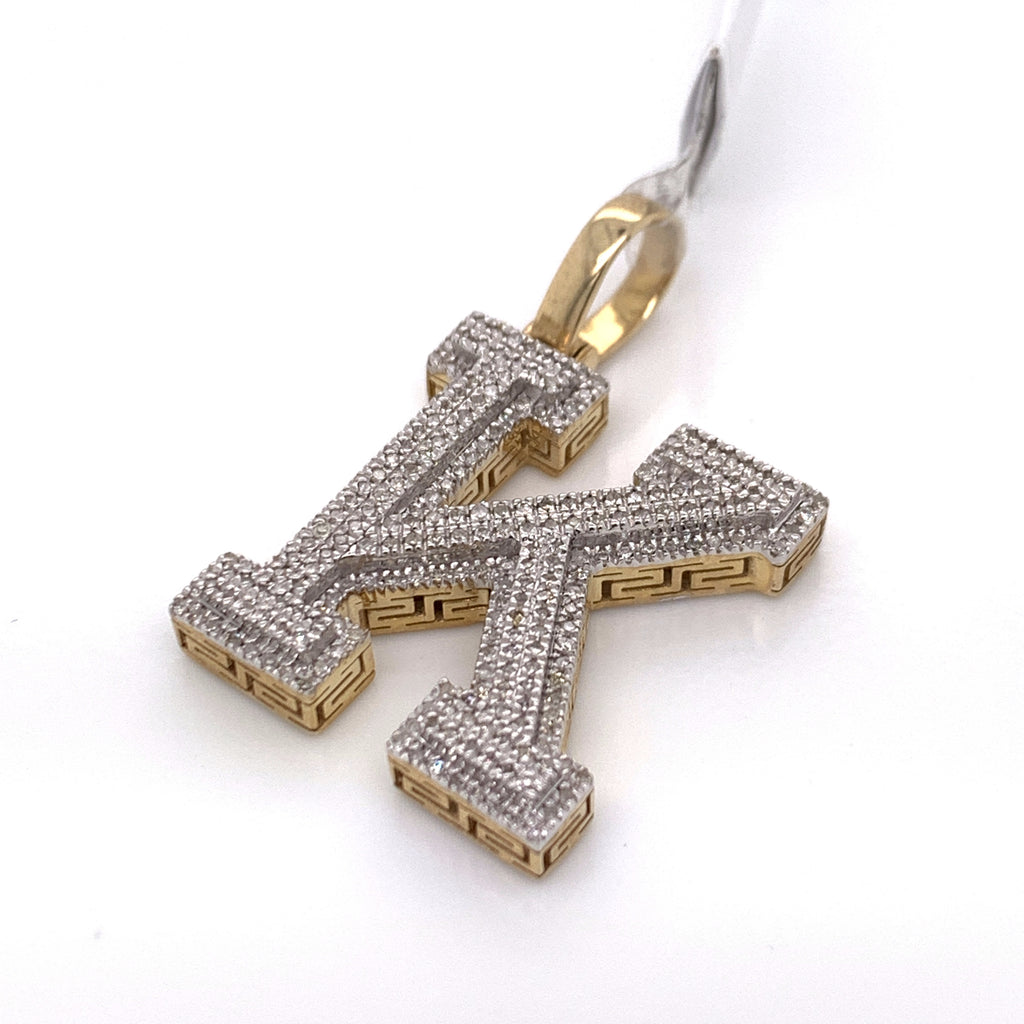 "0.47 CT. Diamond Letter ""K"" Pendant in 10K Gold - White Carat Diamonds"