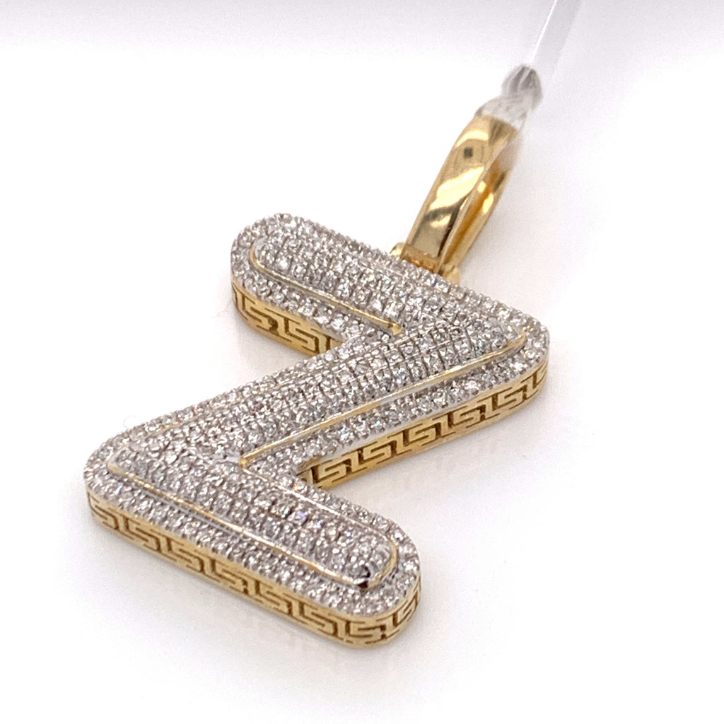 "0.44 CT. Diamond Letter ""Z"" Pendant in 10K Gold - White Carat Diamonds"